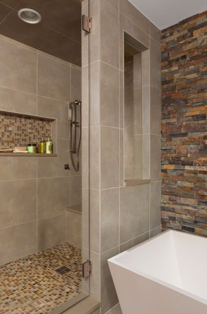 Tile Walk In Shower Gl Door Rectangular Bath Tub Stone Wall Above