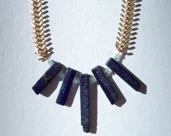 Lapis and aquamarine gold backbone necklace
