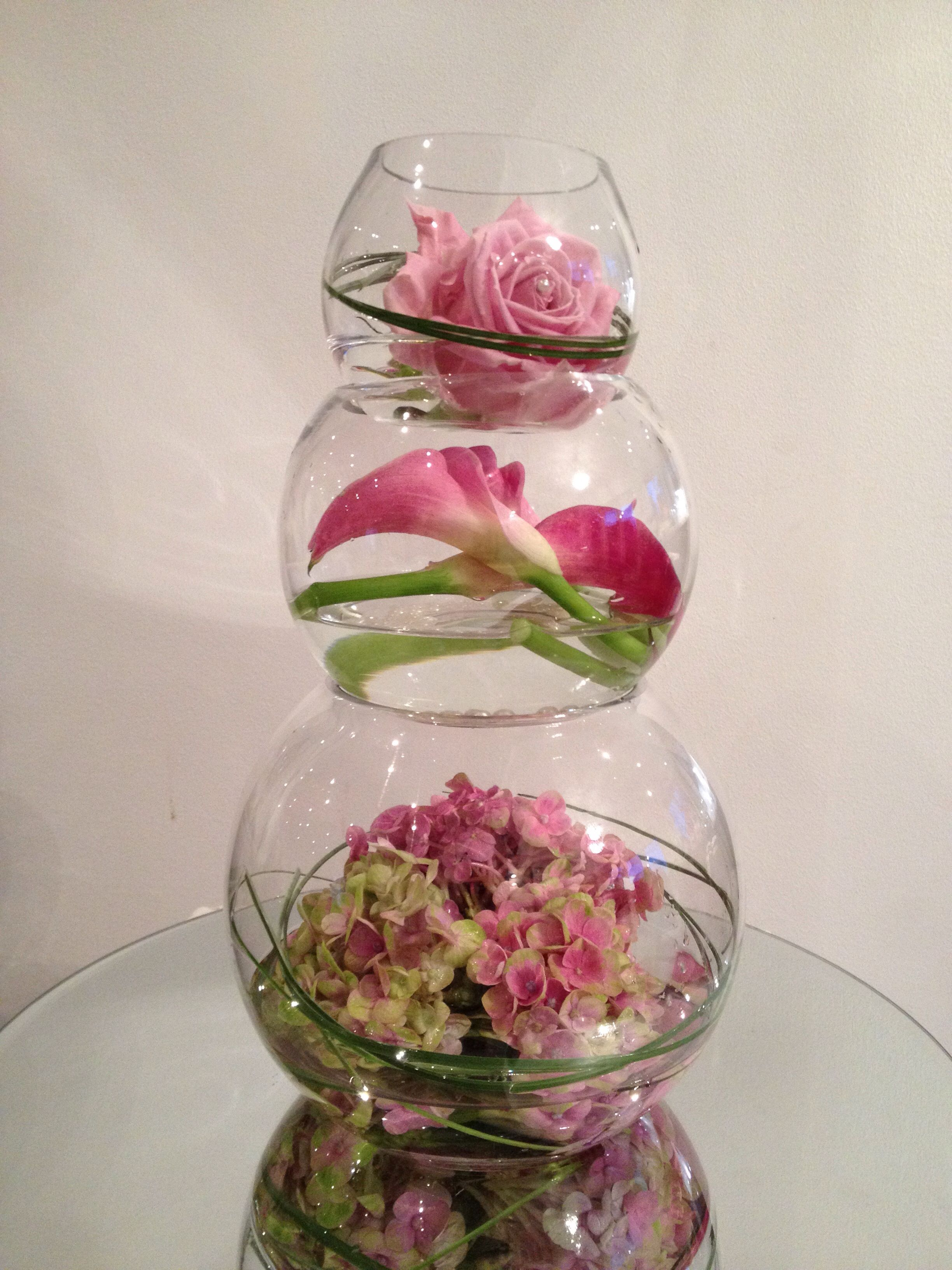 Three tired fish bowl arrangement with a different theme for Fish bowl vase