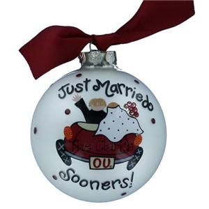 Personalized OU Christmas ornament for Christine and Cory