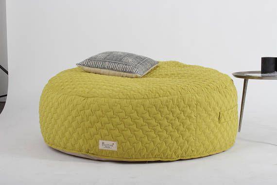 Round Bean Bag Bean Bag Chair Floor Cushion Yellow Furniture Large Floor Pillow Pouf For Living Room Bean Bag Chair Large Floor Pillows Yellow Furniture