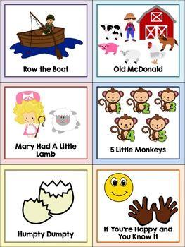 Preschool Song Cards   Nursery rhymes preschool crafts ...