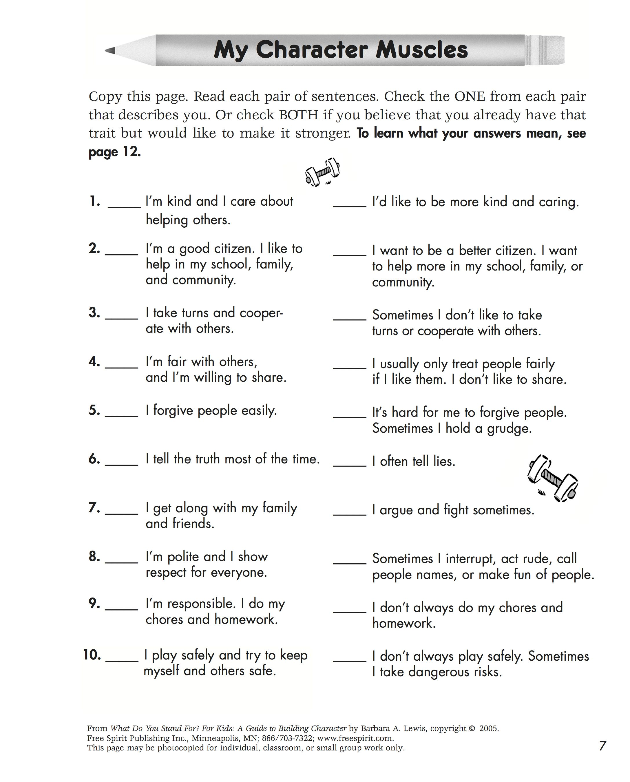 Free Printable Character Education Quiz To Help Kids Learn Which Character  Traits They Have Room To  Free Printable Quiz