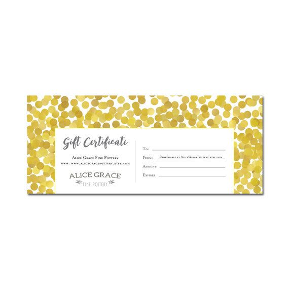 gold glitter gift certificate download personalized premade gift