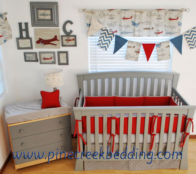 red and grey crib bedding in a vintage