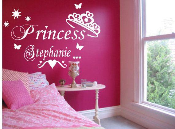 Princess Personalised Wall Sticker Crown Girl Bedroom