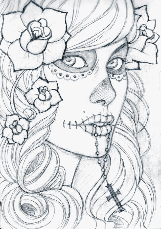 Gallery For Dia De Los Muertos Skull Girl Drawing Day Of The