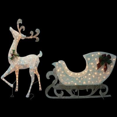 home accents holiday 5 ft thin pvc lighted reindeer with sleigh ty311310 white reindeeryard decorationschristmas - Lighted Christmas Lawn Decorations