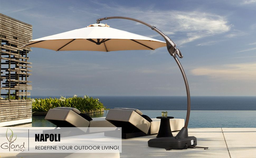 Amazon Com Grand Patio Napoli Deluxe 11 Ft Curvy Aluminum Offset Umbrella Patio Cantilever Umbrella With Base Champagn Patio Offset Umbrella Patio Umbrella