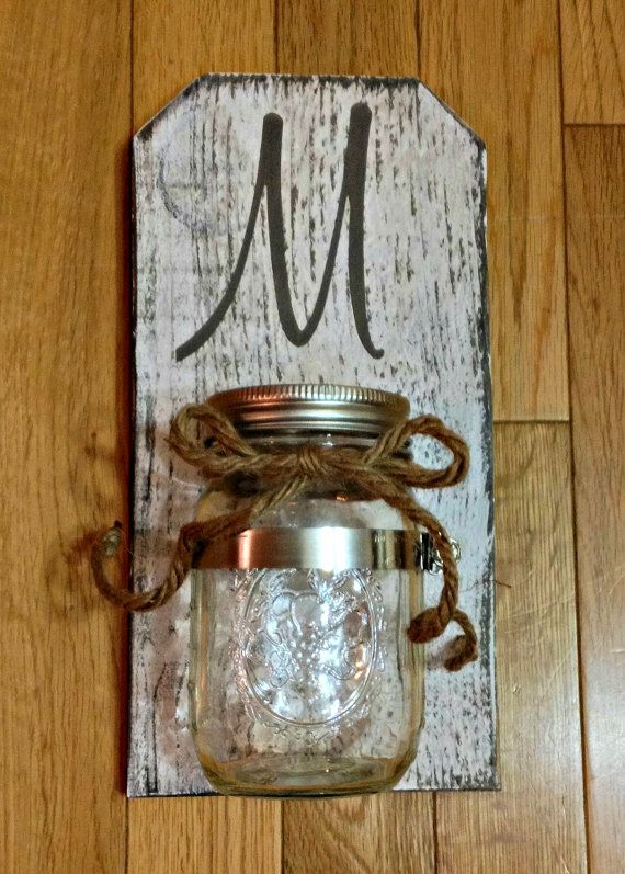 Personalized Rustic Mason Jar Sconce White by LittleFencesStudio, USD 18.00 For the Home ...