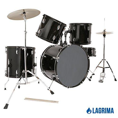 LAGRIMA Black 22 5 Piece Complete Adult Drum Set Cymbals Full Size ...