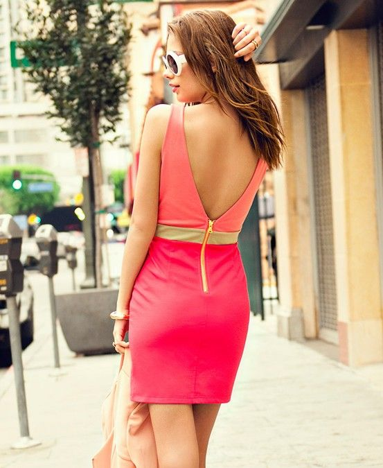 shades of pink and a low back