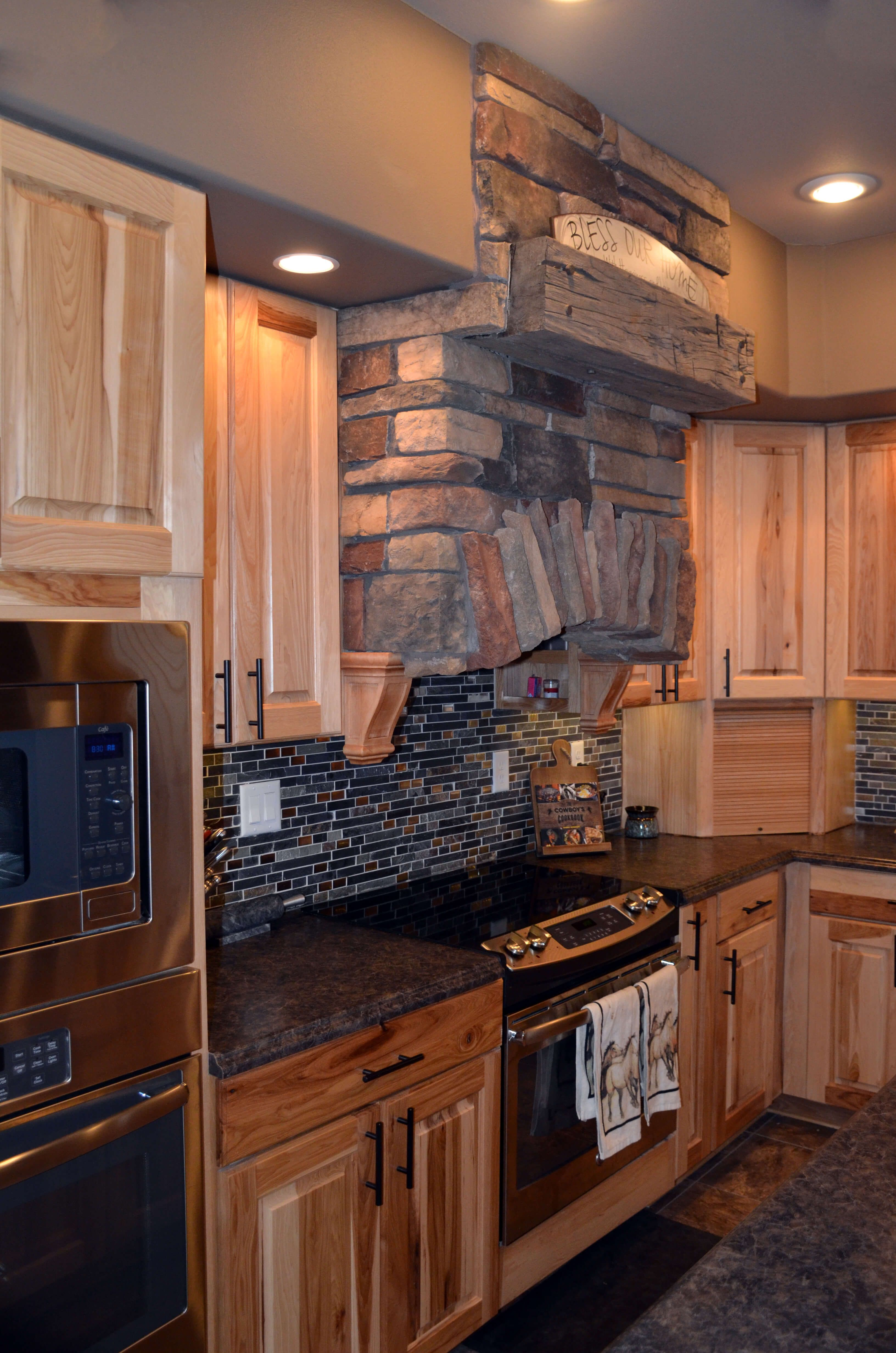 Rustic Hickory Duncan Cabinets w/Natural Finish, Stacked ...