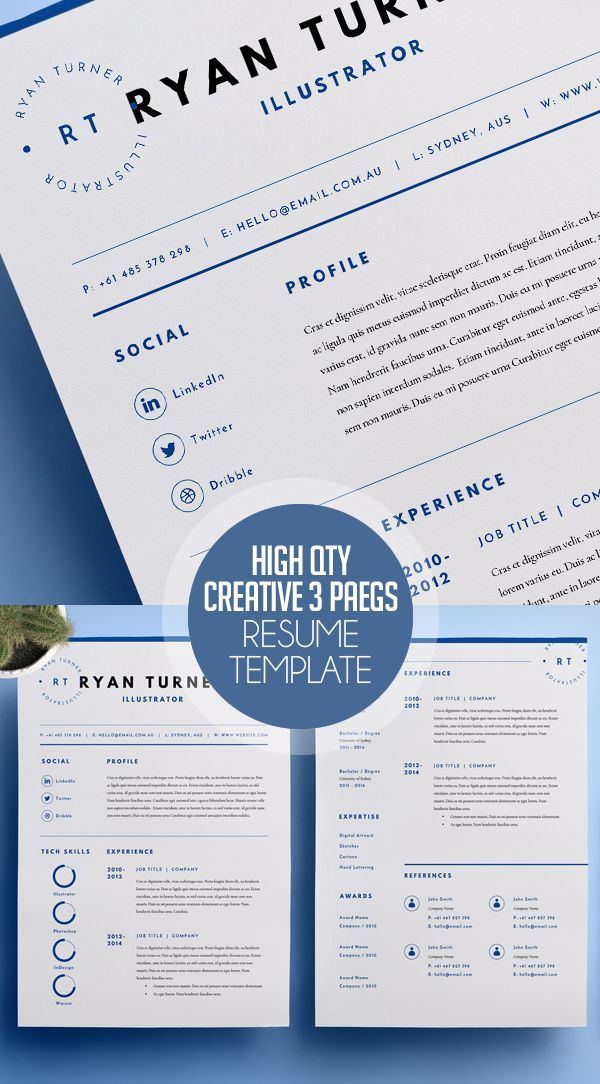 Resume Templates For Pages High Quality Creative Resume Template 3 Pages #resume #2017 #cv