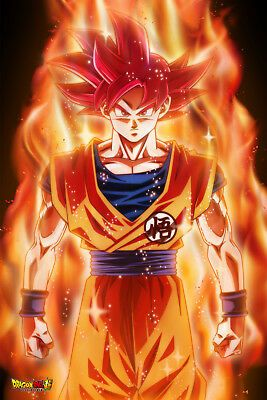 Details about Dragon Ball Super Poster Goku Super Saiyan God Red SSJG 12inx18in