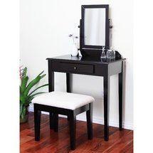 Home Craft 3 Piece Vanity Set Mahogany Walmart Com Vanity Set Bedroom Furniture Bench Contemporary Vanity