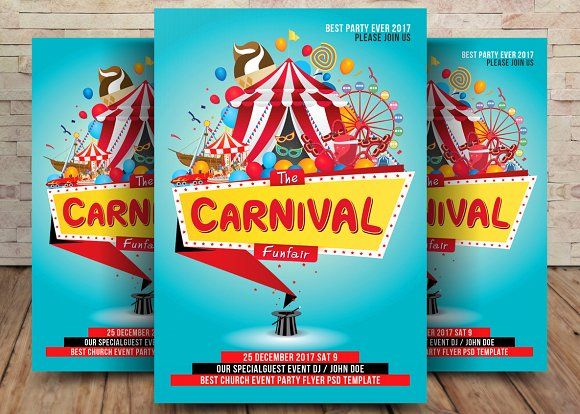 Carnival Flyer by Party Flyers on @creativemarket Graphic Design