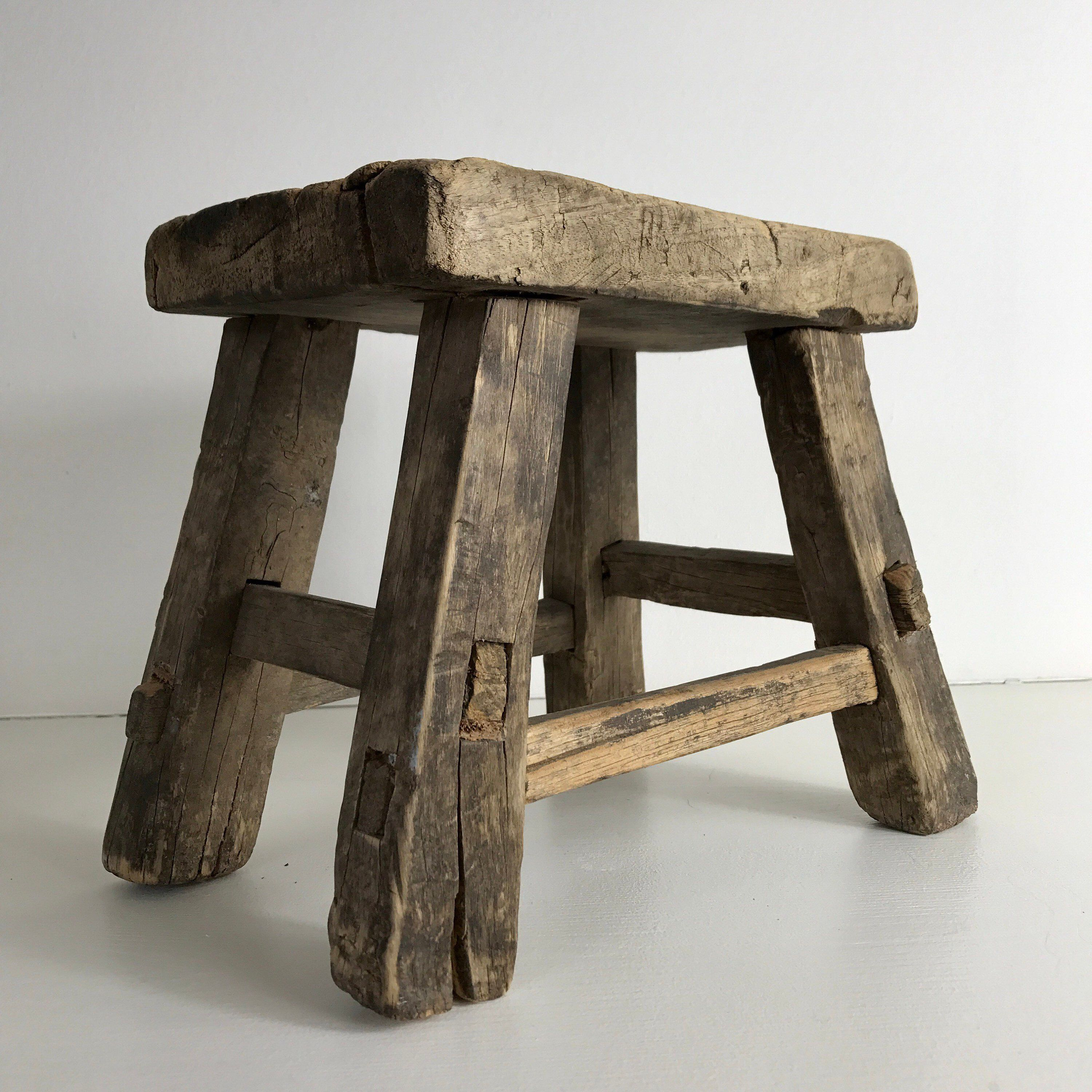 Small vintage wooden stool, side table antique bench
