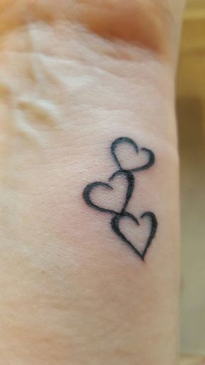 Three Hearts To Symbolise Me My Husband And Son Tattoos For