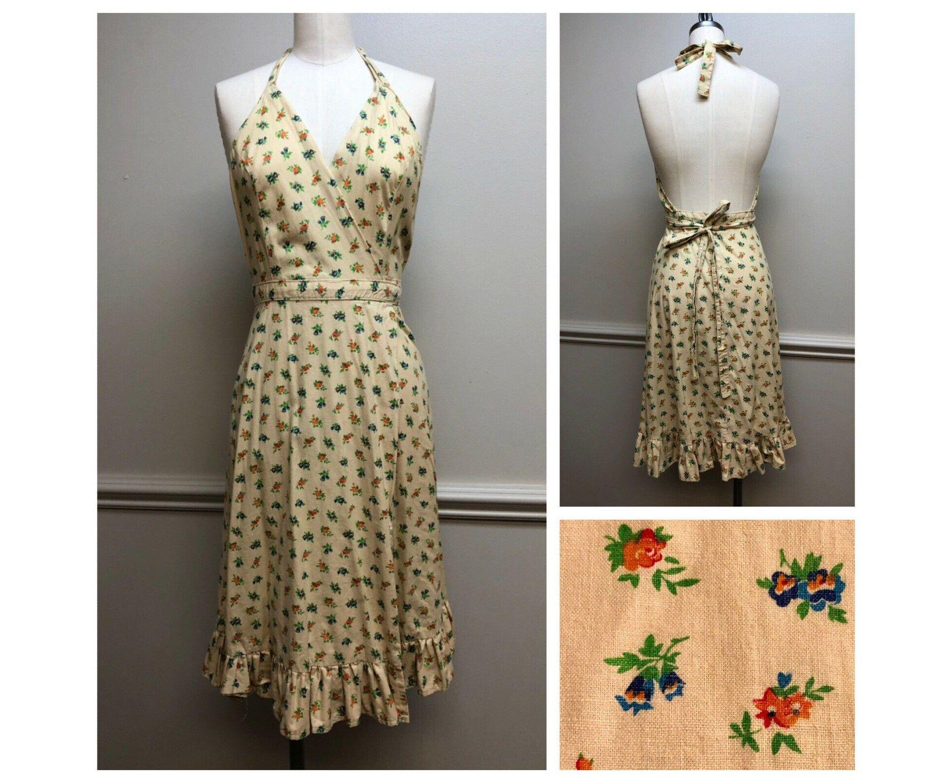 Vintage 1970s Halter Wrap Dress Floral 70s Sundress Open Back Dress Handmade Boho Clothing Earth Tones By Proveauxvintage On Etsy Https Www Etsy Com L [ 1600 x 1944 Pixel ]