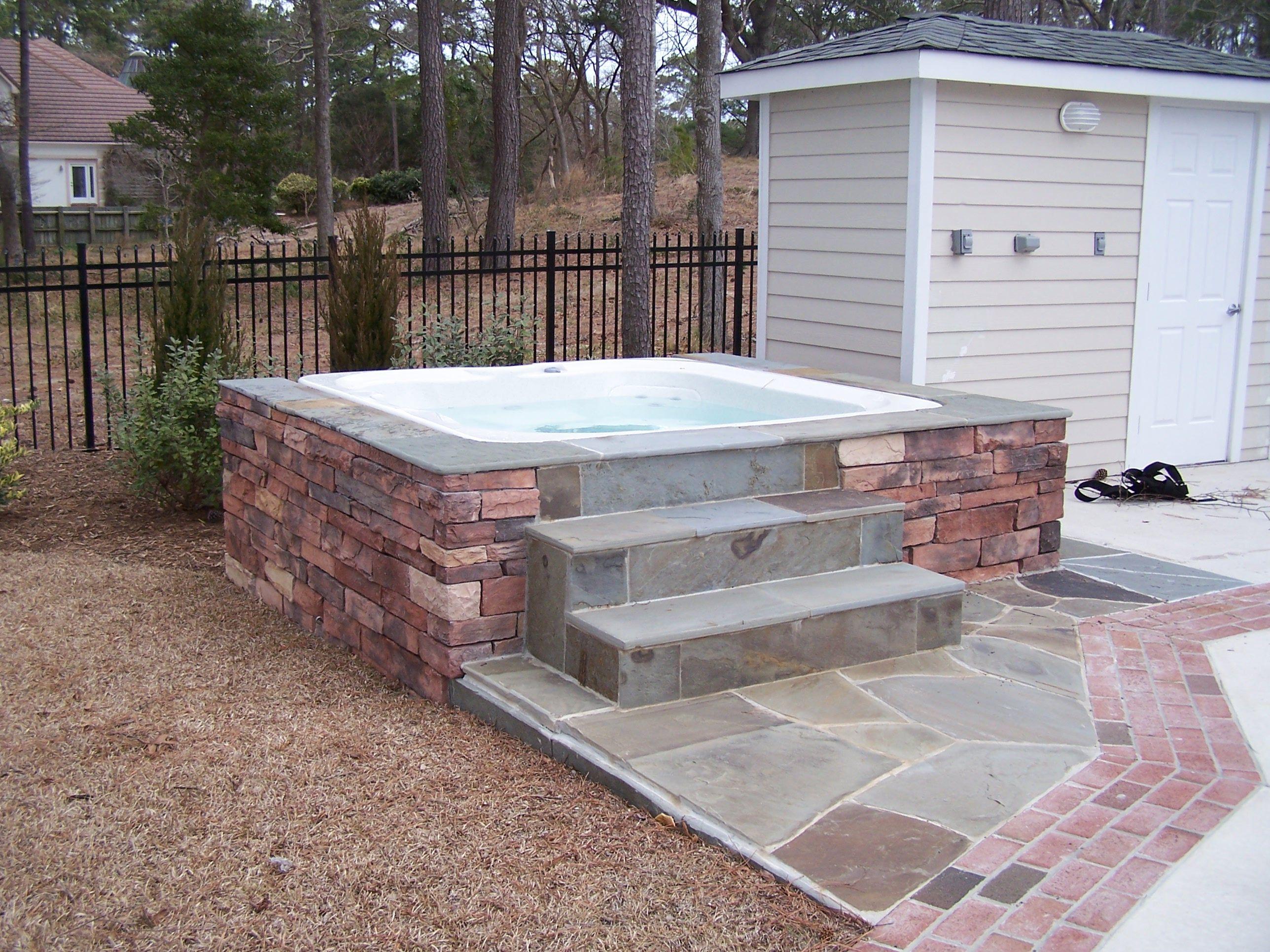 Stone Hot Tub Surround | Sandscapes | Pinterest | Hot tub ...