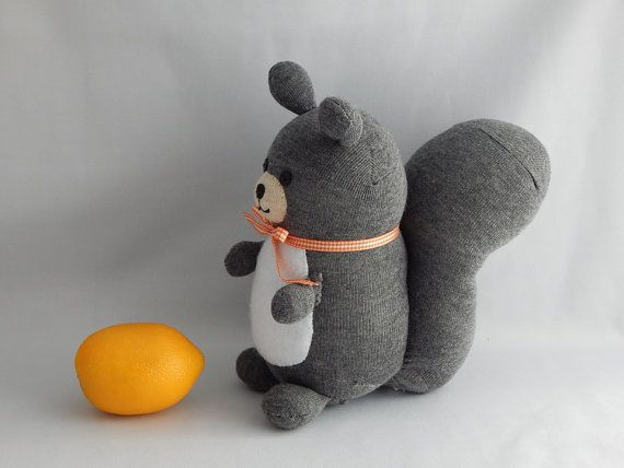 Squirrel Plush Toy Plushie Stuffed Animal Sock by SockSockWorld