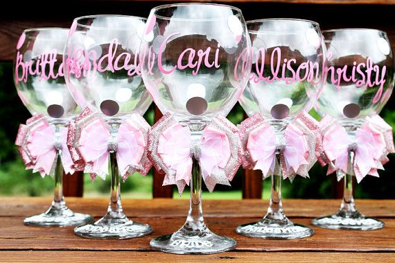 Personalized Bridesmaid Wedding Bridal Shower Date Monogram Bow Bride Groom Groomsman Bachelorette Wine Glass Gift on Etsy, $22.99