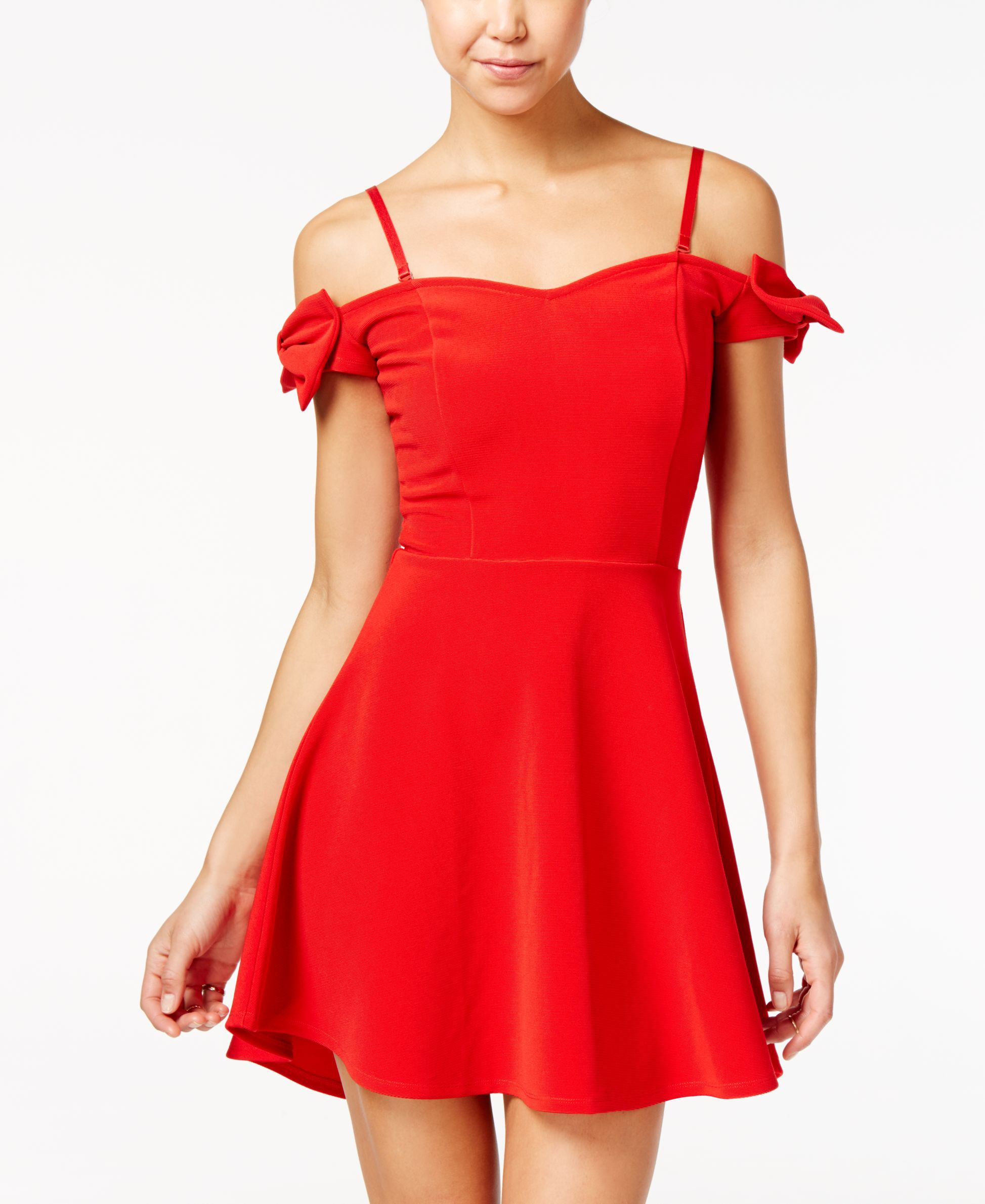 Material Girl Bow-Trim Off-The-Shoulder Fit & Flare Dress, Only at Macy's