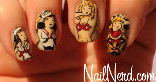 Sailor Jerry pin up girl inspired manicure on a base of OPI Did You 'Ear About Van Gogh