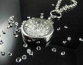 Swarovski Large Round Glass Locket with Crystal (clear) rhinestone crystals