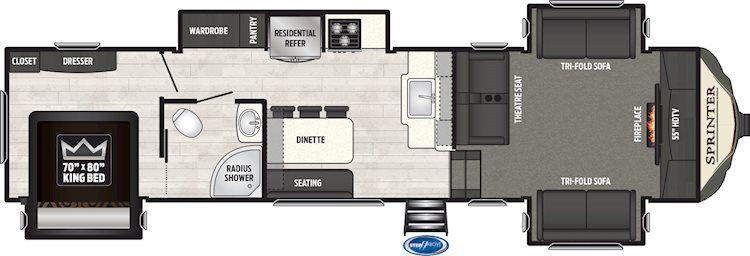 Montana Fifth Wheels 3810ms Floorplan Keystone Rv My Rv In