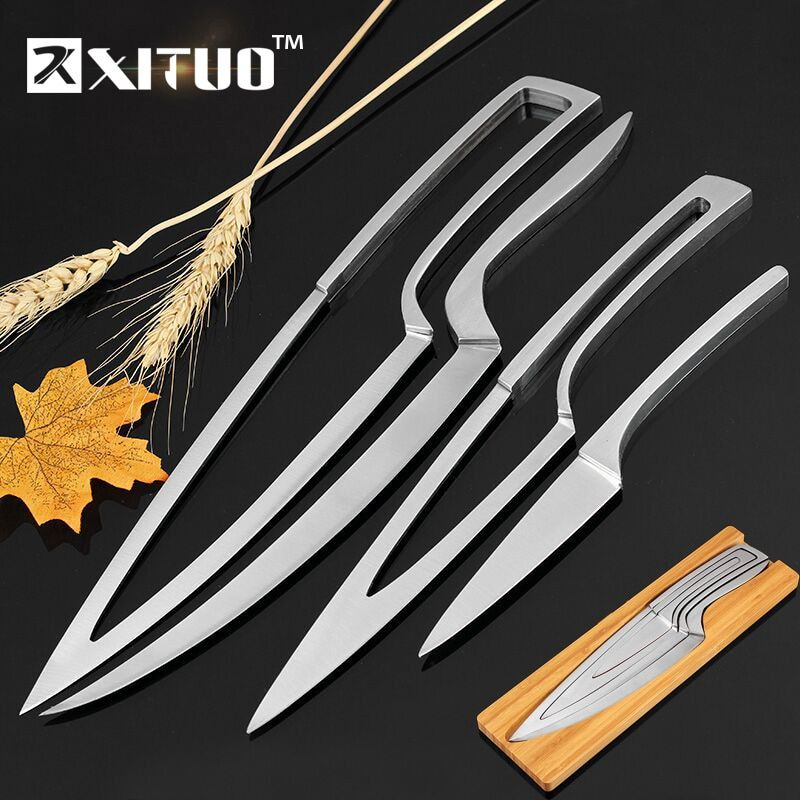 4pc Nesting Knife Set 8 Chef Knives Paring Knife Nested Into One In 2020 Kitchen Knives Knife Sets Chef Knife