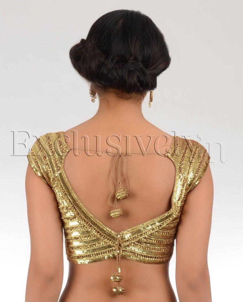 bdfb45c251e31e Golden Sequin Blouse - Buy Divya Kanakia Blouses Online | Exclusively.in Sari  Blouse Designs