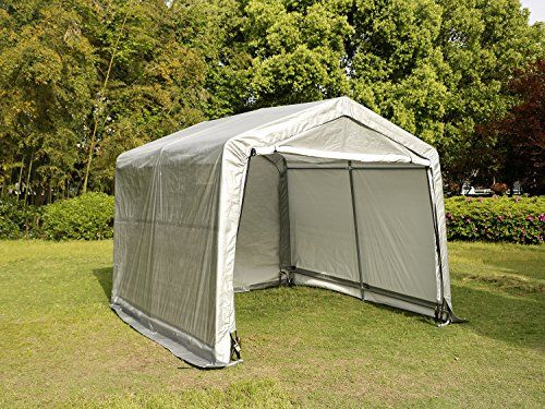 Carports   UHOM 10x10x8ft Portable Auto Shelter Instant Garage Storage Shed  Canopy Carport Cover With Enclosure