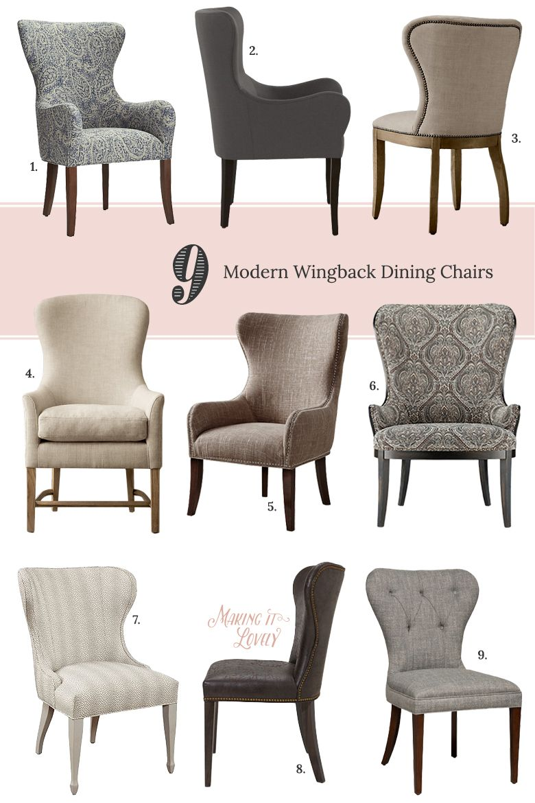 9 Modern Wingback Dining Chairs | Making it Lovely ...