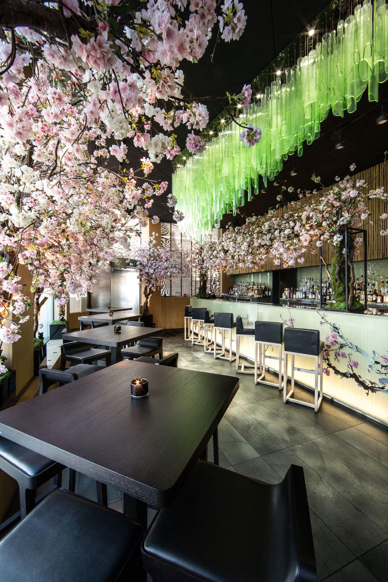 Sakura At Sake No Hana Celebrates The Centuries Old Japanese Tradition Of Flower Bar Design Restaurant Japanese Restaurant Interior Japanese Restaurant Design