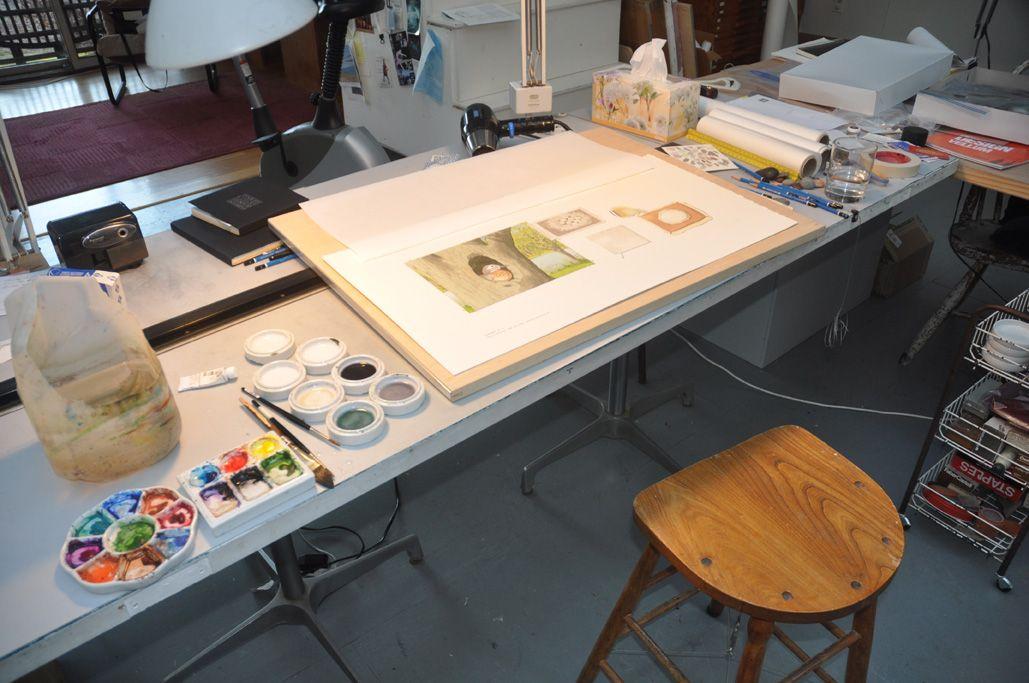 Final art in the illustrator's studio
