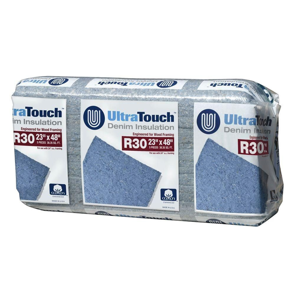 Ultratouch R 30 Denim Insulation Batts 23 In X 48 In 8 Bags 10003 03023 Insulation Home Depot Recycled Denim