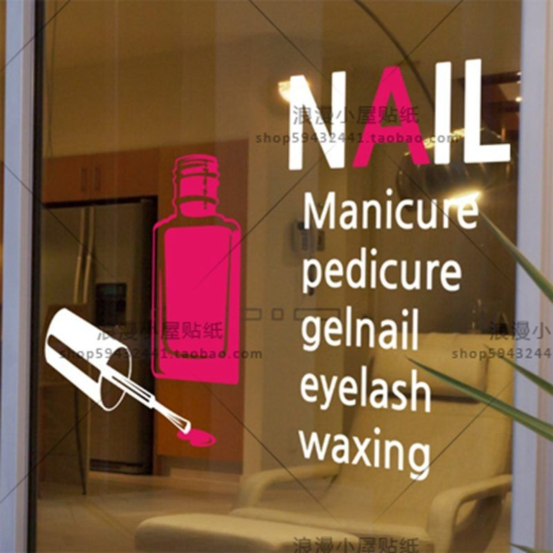 Car Nail Salon Sticker Decal Posters Vinyl Wall Art Decals Pegatina ...