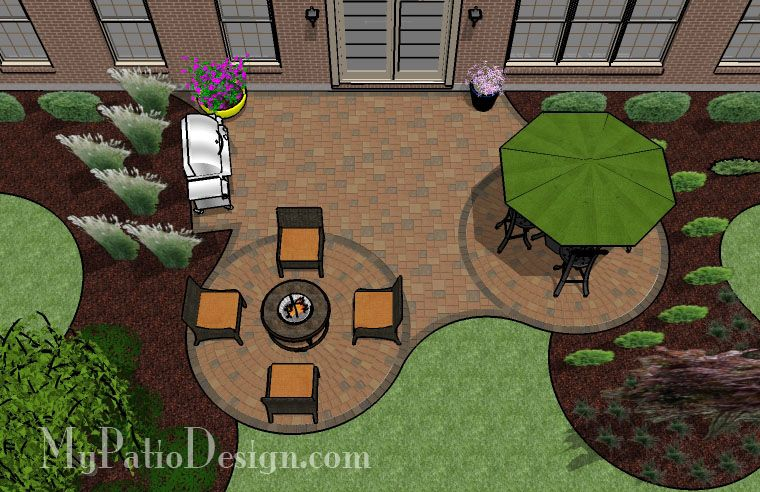 Patio with a Fire Pit and Circle Pattern | Outdoor Fireplaces & Fire Pits