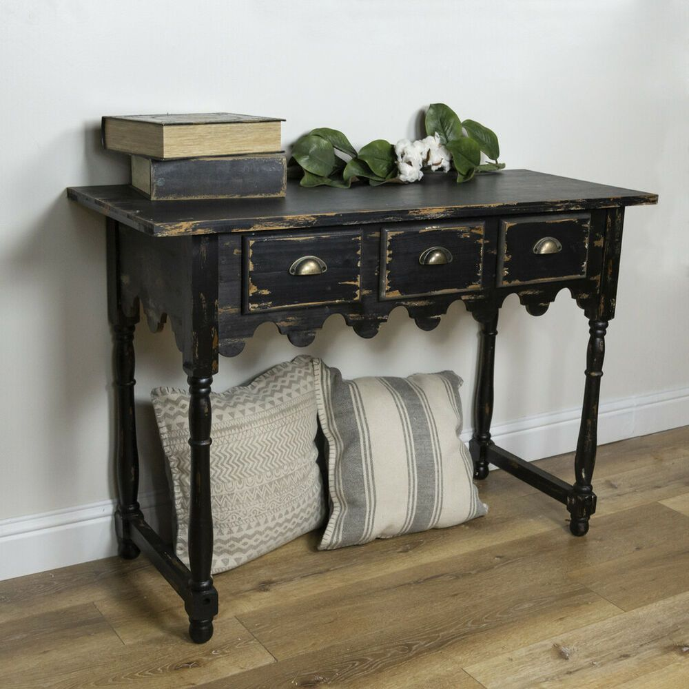 Vintage Black Wooden Accent Table With Three Drawers Distressed