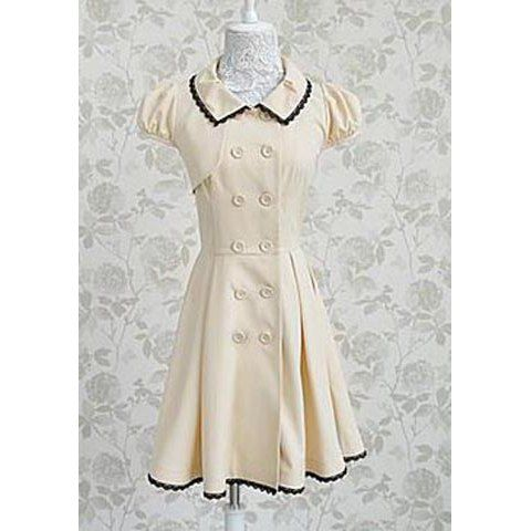 Vintage Turn-Down Collar Short Sleeves Double Breasted Lace Splicing Dress For WomenVintage Dresses | RoseGal.com