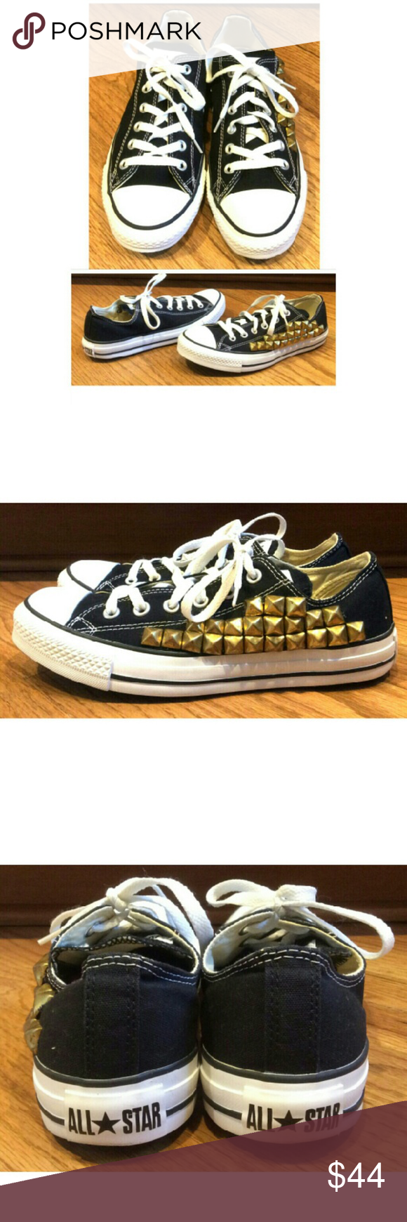 ☆SALE! CONVERSE studded low tops These classic Converse decorated low tops are perfect to wear with any outfit year round! Classic original black canvas Converse with a twist, gold studs decorate the left shoe. In like NEW condition, NO DAMAGES, UNUSED. Dress up or down with jeans, shorts or dresses. Grab yours! Converse Shoes Sneakers