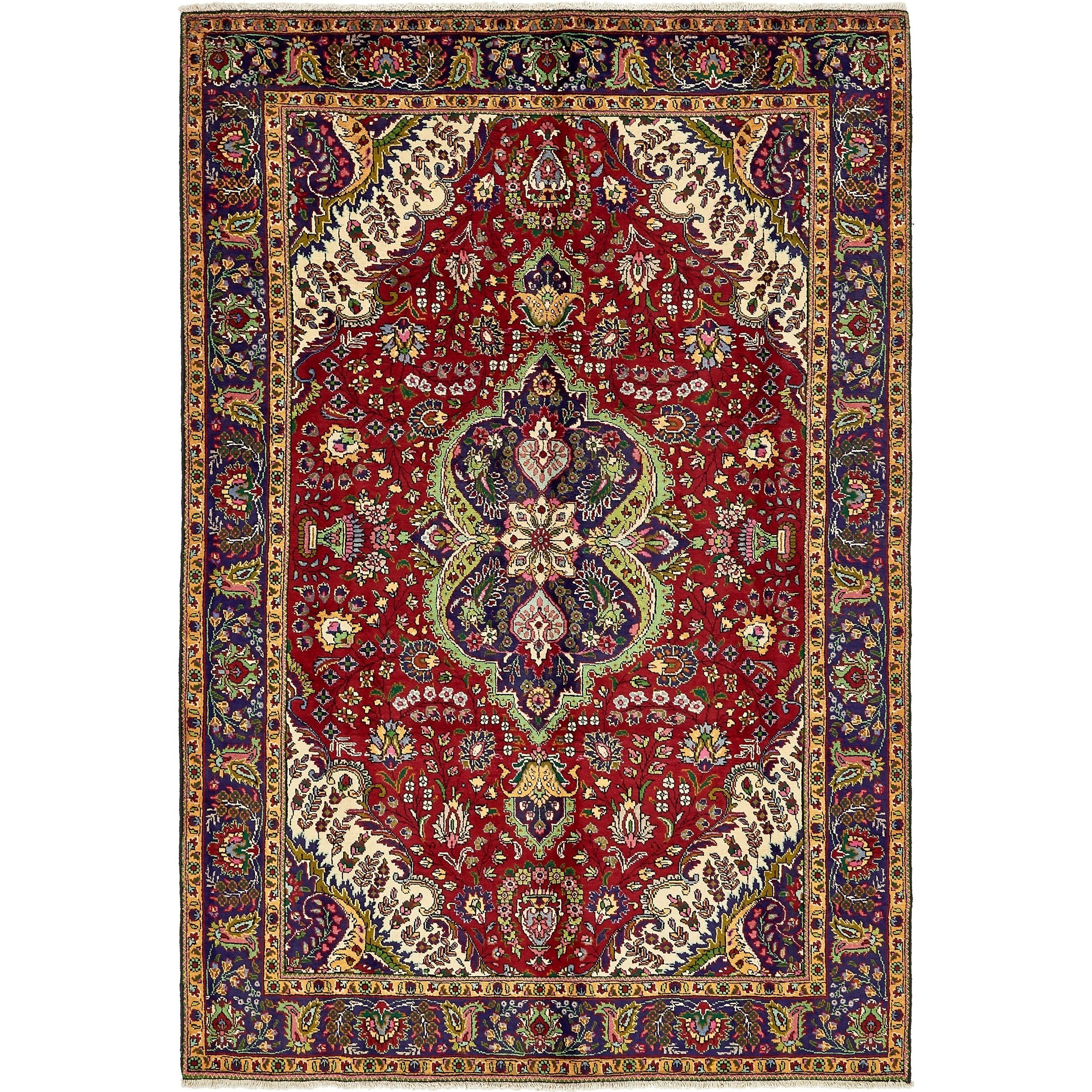 Refurbished Hand Knotted Tabriz Wool Area Rug 6 9 X 10 Red