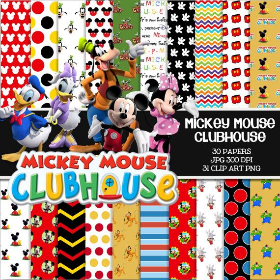 """MICKEY MOUSE CLUBHOUSE Digital Paper Pack - 30 Papers - 31 Clipart - 8.5"""" X 11 """"…"""