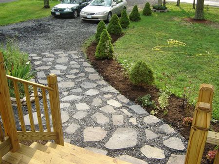 Cheap idea driveway landscaping made sure that the slate for Inexpensive walkway ideas