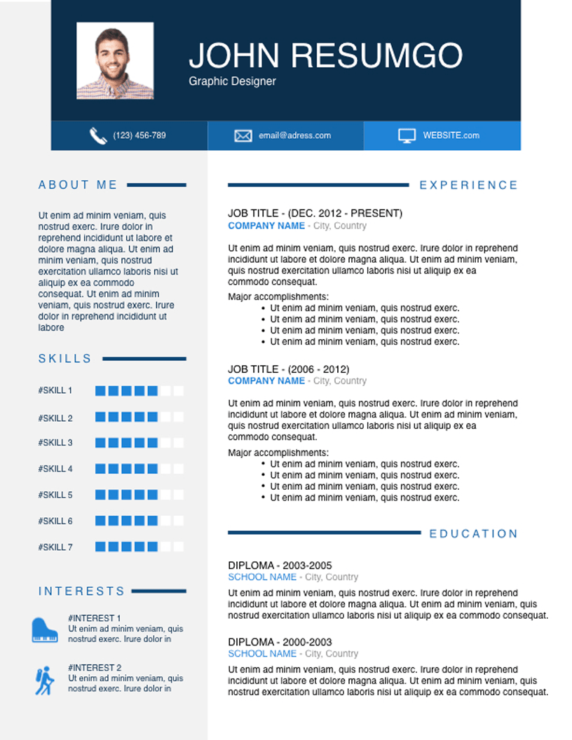 OPHELOS Blue Resume Template Resume