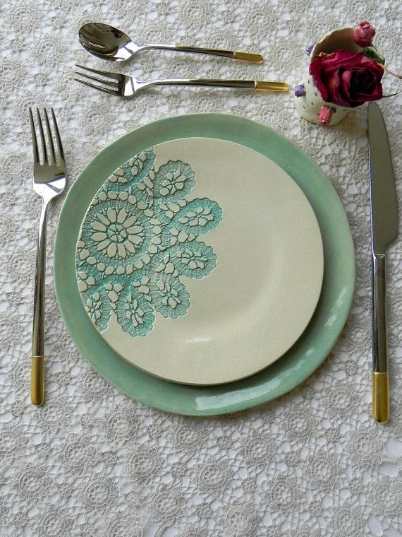 Lace Ceramic Dessert and Dinner Plate Set of 2 Unique Mint Serving Plate Wedding Decoration Hand Built Turquoise Color & Lace Ceramic Dessert and Dinner Plate Set of 2 Unique Mint Serving ...