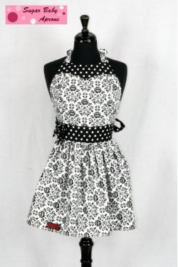 Black and white Damask Apron. i want this asap
