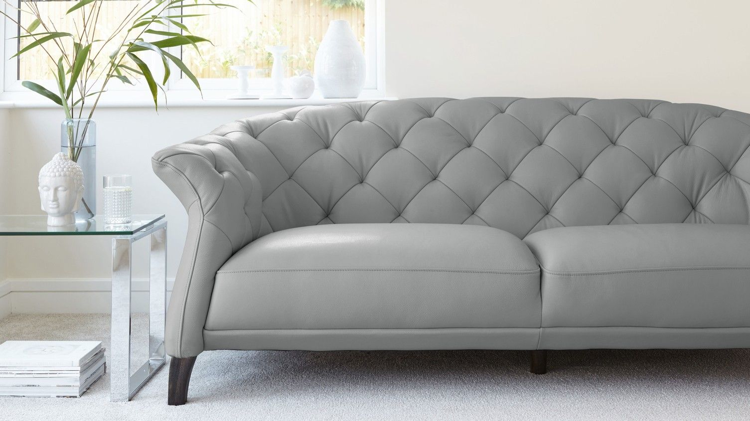 Luxe Modern 2 To 3 Seater Leather Chesterfield Sofa Family Room
